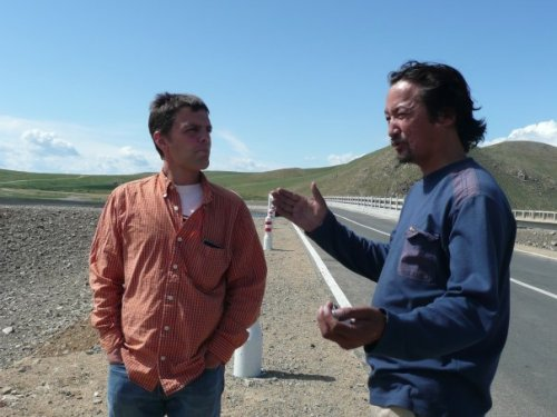 Neil and Baatar near a bank of the Kherlen Gol
